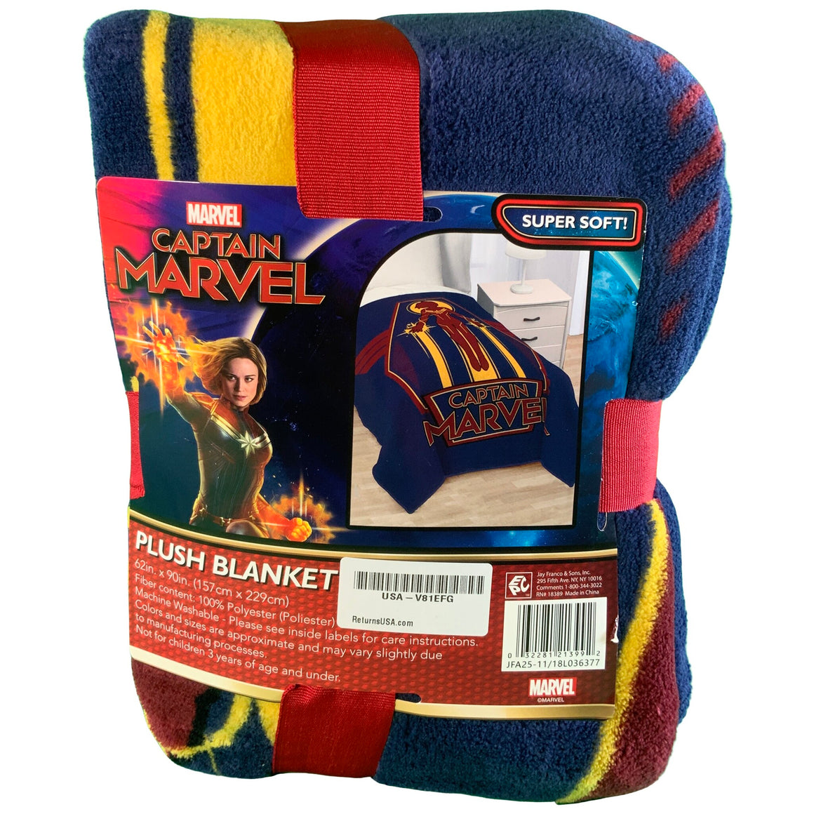 Captain Marvel Twin Bed Blanket Blue - Marvel