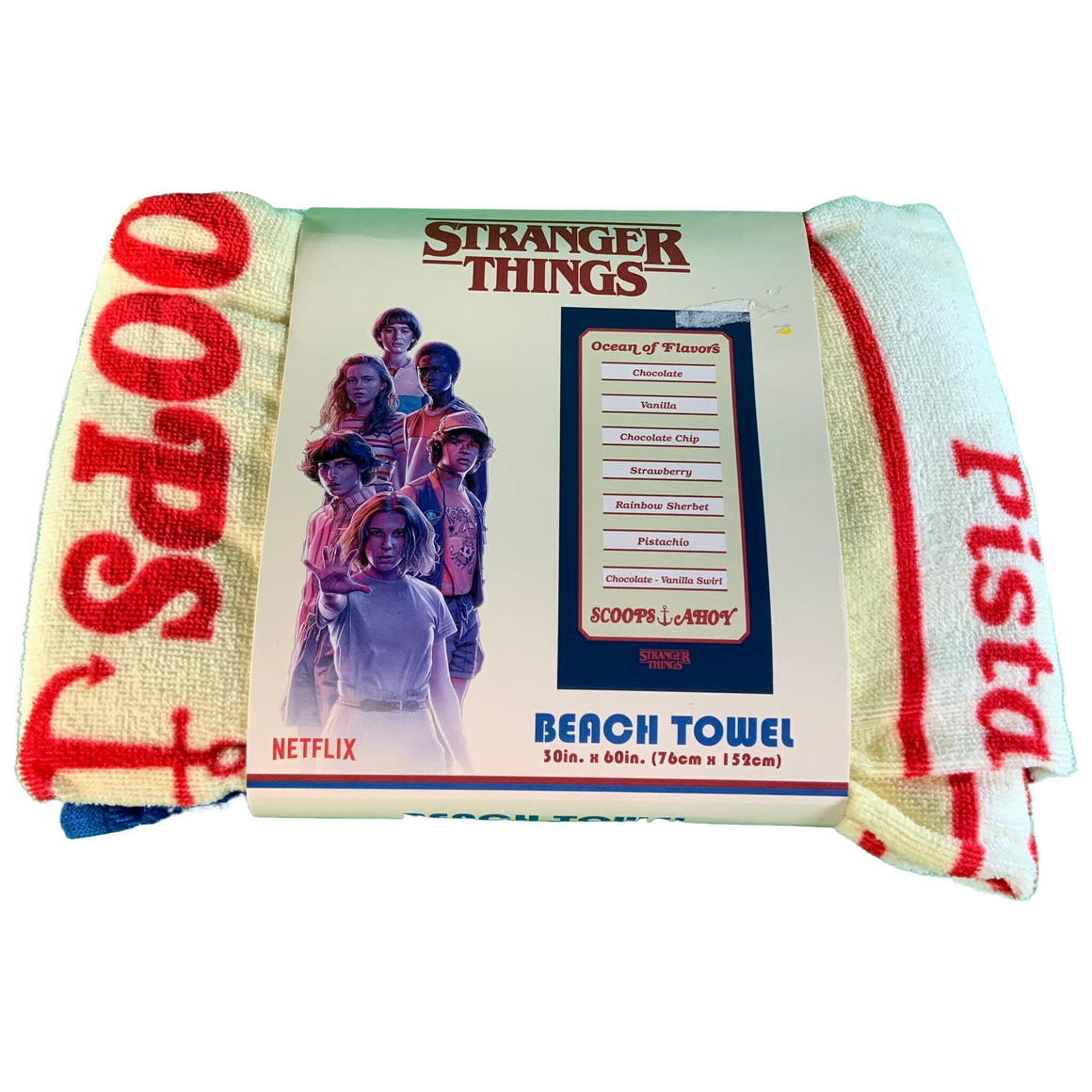 "Stranger Things Beach Towel 30"" X 60"" Scoopys Ahoy Menu Board Flavor 100% Cotton - Netflix"