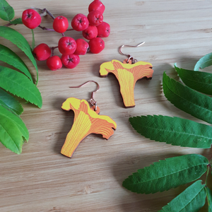 Chanterelle Wooden Earrings
