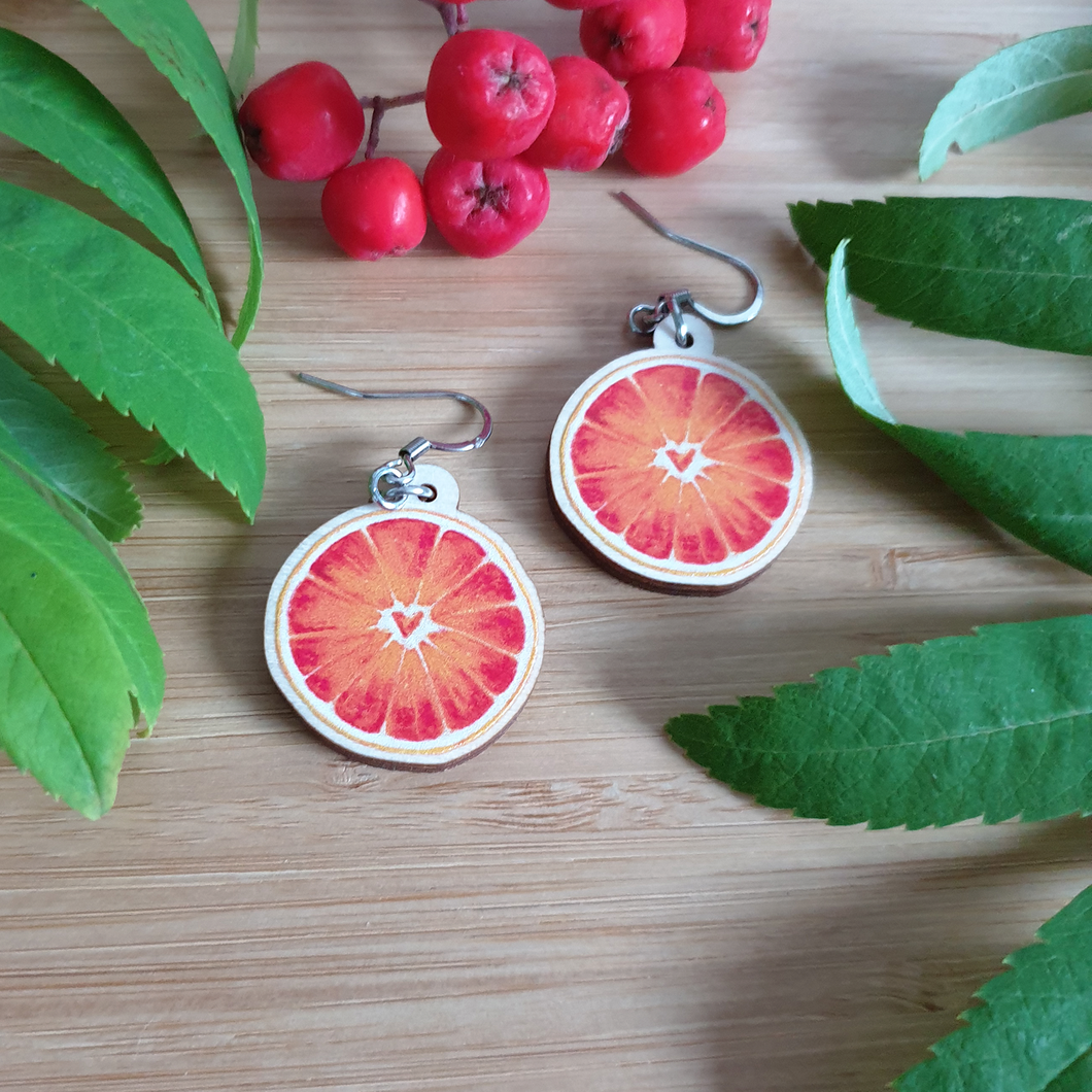 Blood Orange Wooden Earrings