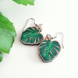 Monstera Hanging Earrings
