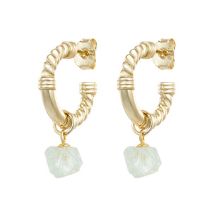 Raw Green Fluorite Crystal Hoop Earrings - CVLCHA