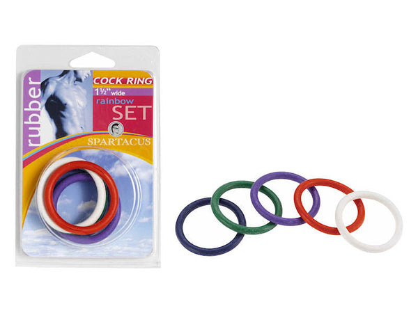 Spartacus Leathers Rubber Cock Ring 5-pack - 1.5