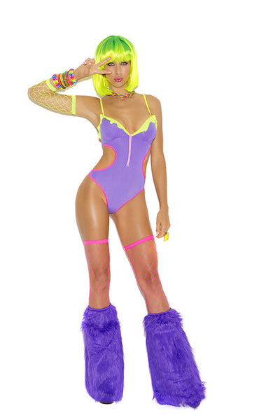 Neon Nites Lycra teddy with center front zipper, ruffle detail and cut out sides.