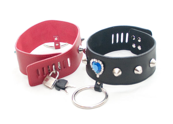 Locking Jeweled Collar with Leash
