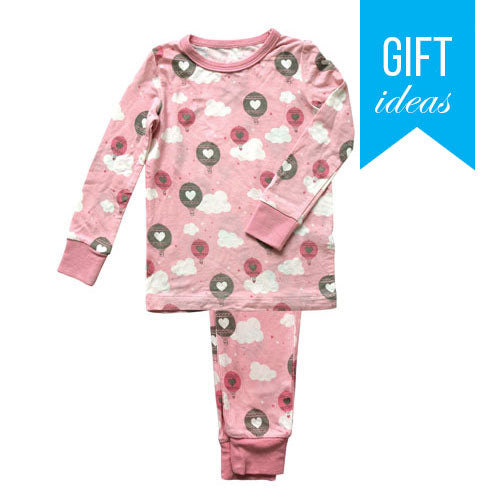 Bamboo 2 pc Pajama Set - Pink Cloud Air Balloon