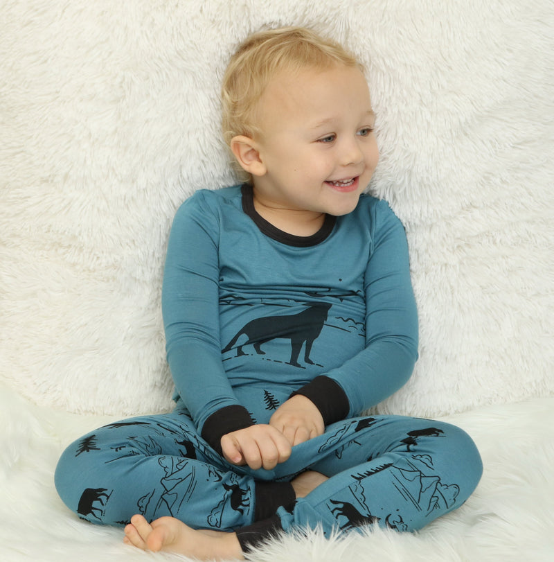 bamboo long sleeve pajama set blue forest color