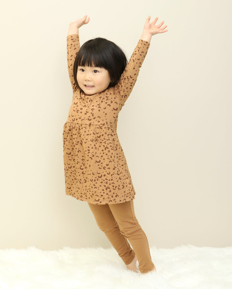 Bamboo Swing Dress w/Bloomer (Geometric Leopard Print)