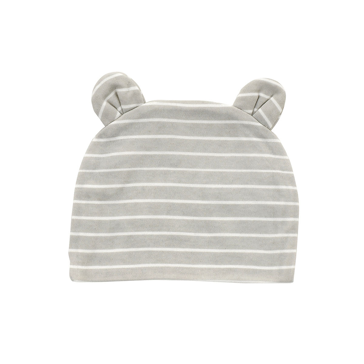 Organic Cotton Beanie (Color: Silver cloud stripe)