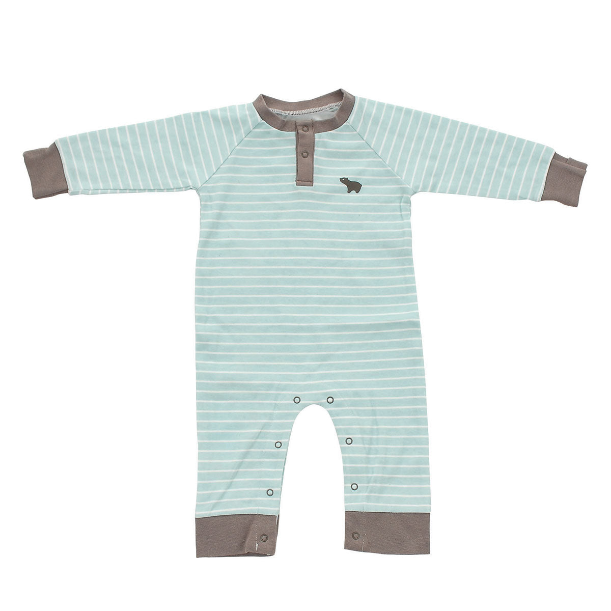 Organic Cotton Long Sleeve Romper (Arctic Blue)