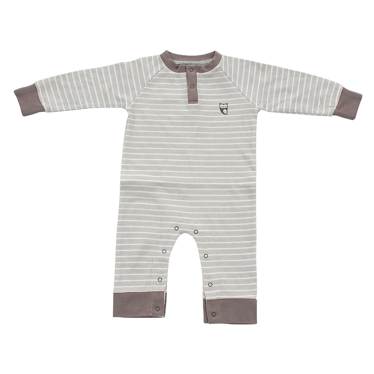 Organic Cotton Long Sleeve Romper (Silver cloud stripe)