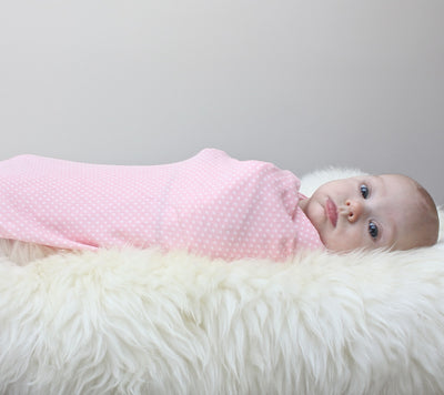 Organic Cotton Swaddler Blanket (Blush dot print)