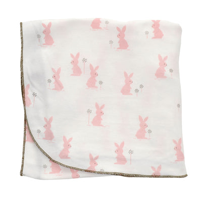 Organic Cotton Swaddler Blanket (Blush bunny print)