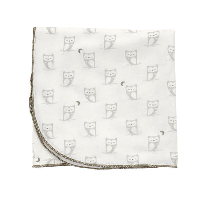 Organic Cotton Swaddler Blanket (Snowy owl/silver cloud print)
