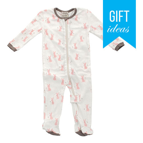 Organic Cotton Footed Sleeper - Blush bunny print