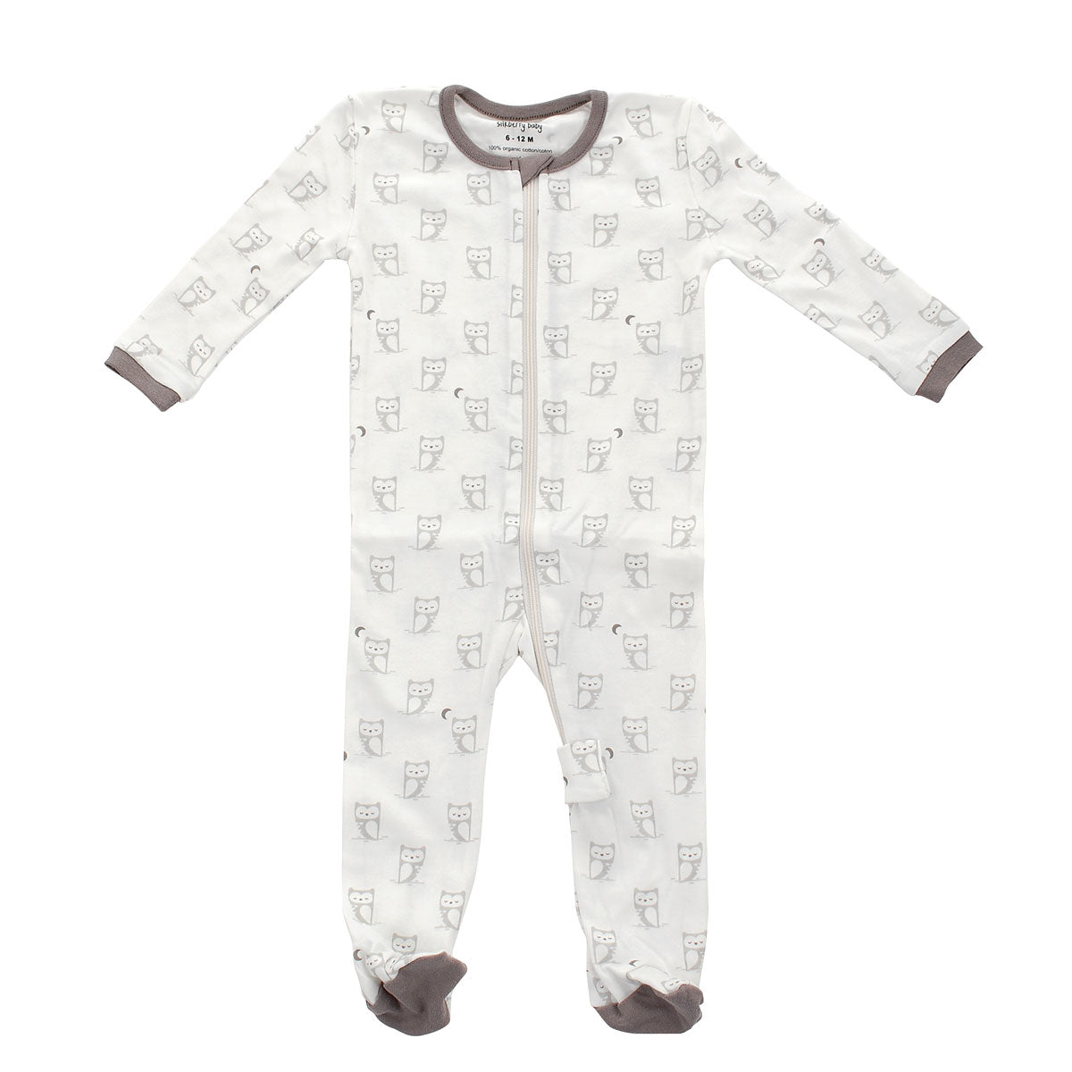 Organic Cotton Footed Sleeper - Silver cloud owl print
