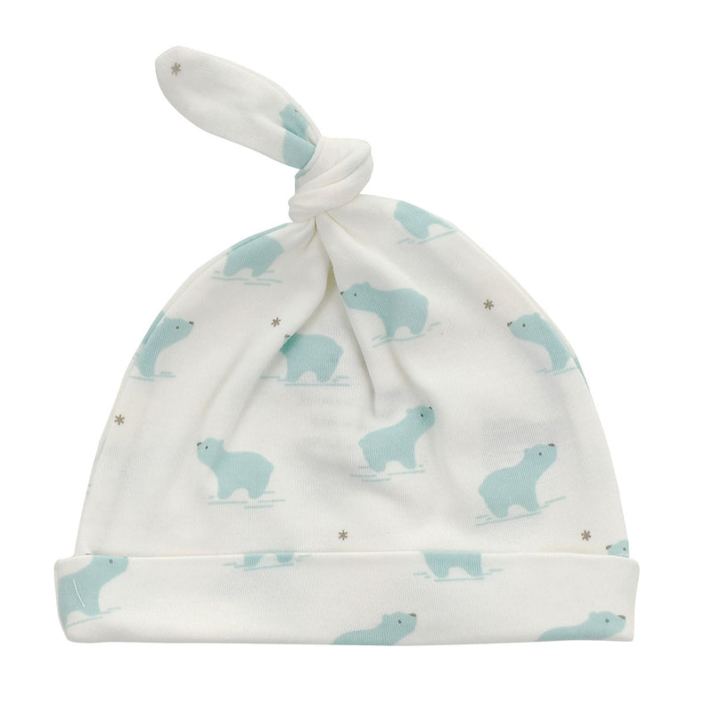 Organic Cotton Knot Hat - Arctic blue bear print