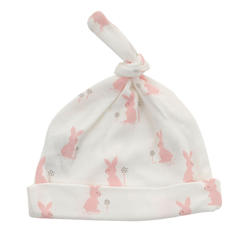 Organic Cotton Knot Hat - Blush bunny print