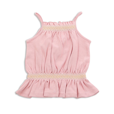 Organic Cotton Smocked Top - Natural Pink