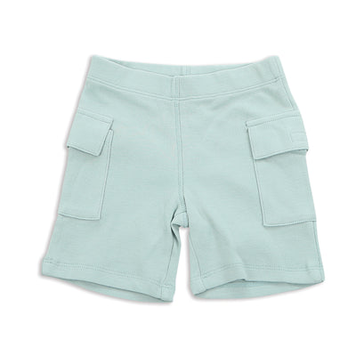 Organic Cotton Cargo Pocket Shorts - Blue Cloud