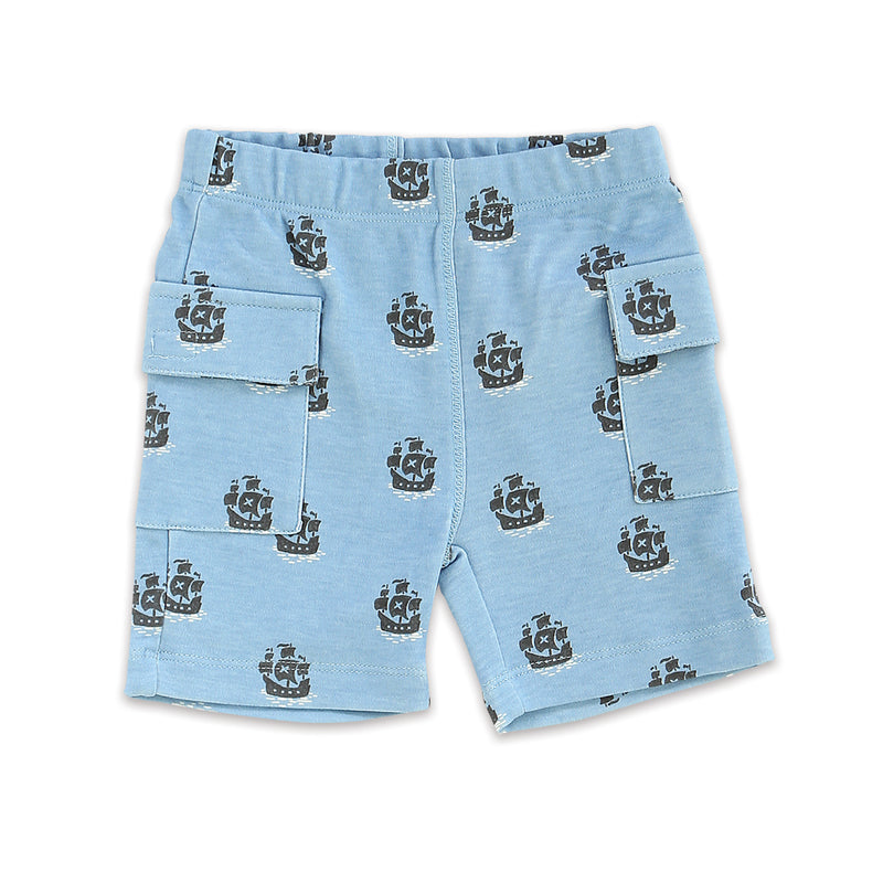 Organic Cotton Cargo Pocket Shorts (Little Pirate Print)
