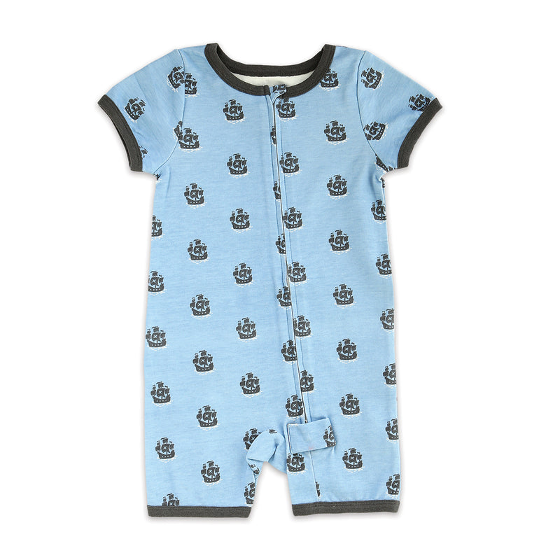 Organic Cotton Short Sleeve Romper w/Zipper (Little Pirate Print)