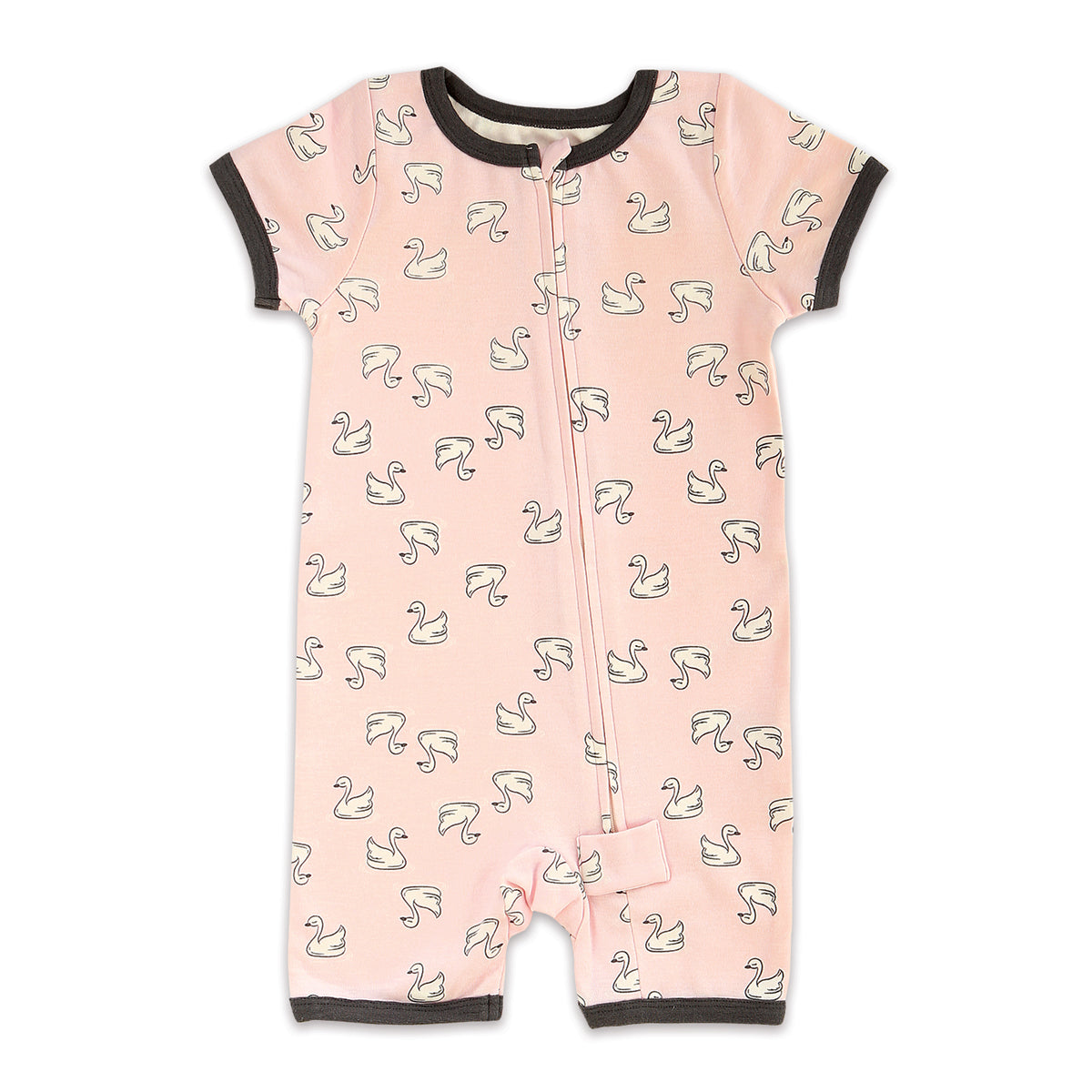 Organic Cotton Short Sleeve Romper w/Zipper (Little Swan Print)