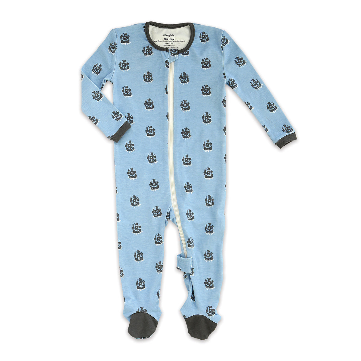 Organic Cotton Footies w/Easy Dressing Zipper (Pirate Print)