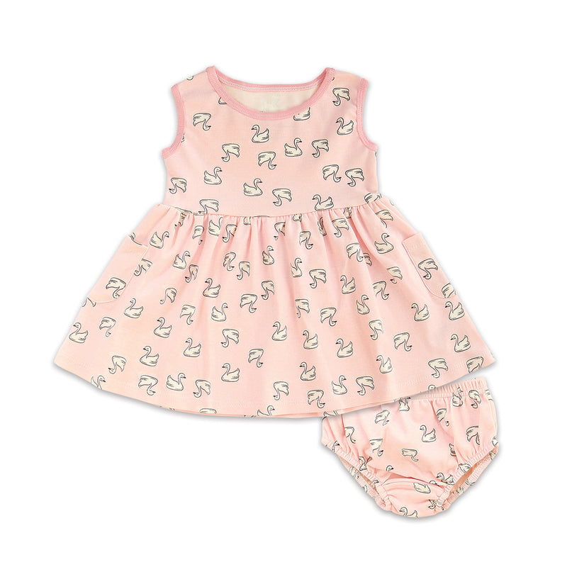 Organic Cotton Dress w/Bloomer (Little Swan Print)