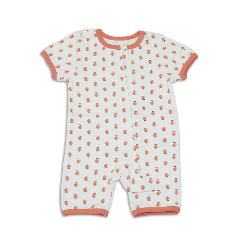 Organic Cotton Zip Up Romper (Peachy Keen Print)