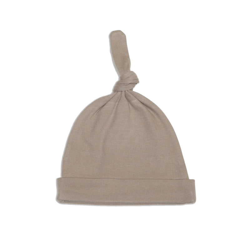 organic cotton knot hat bear cub color