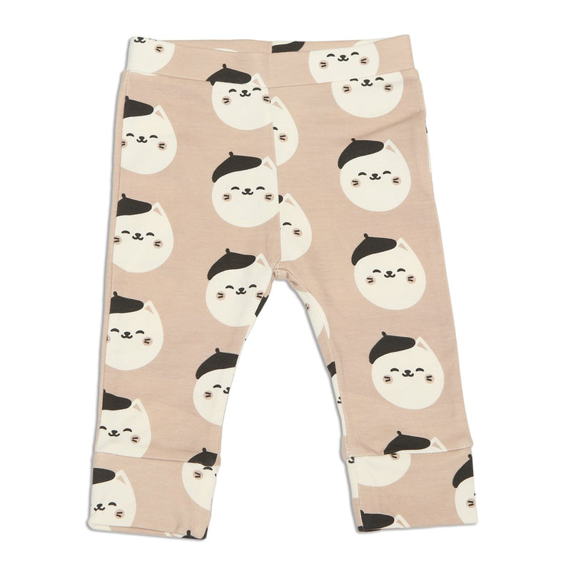 organic cotton jogger pants french cat print