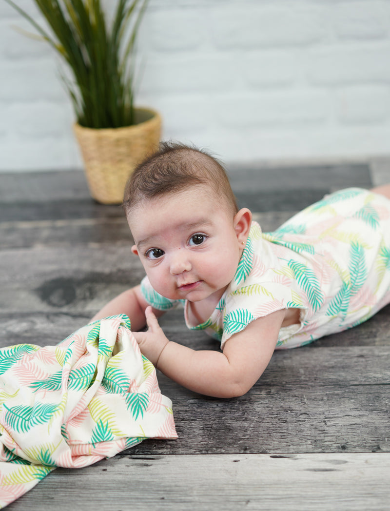 Bamboo Ruffle Sleeve Coverall (Tropical Palm Print)