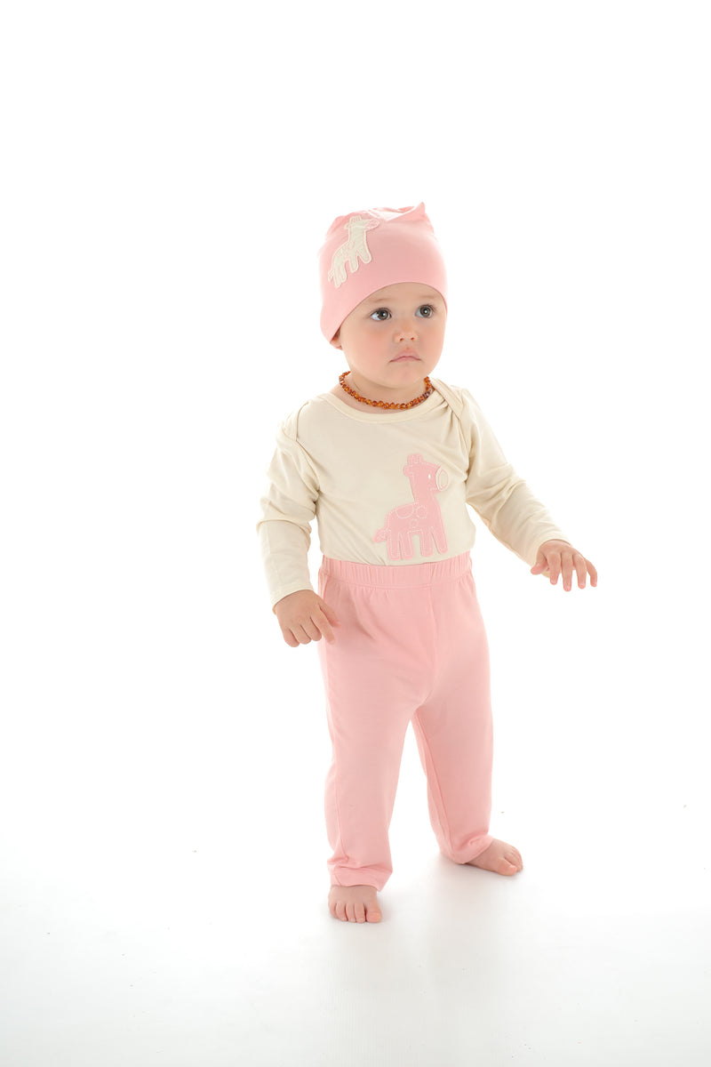 Bamboo Long Sleeve Onesie (Cotton Candy Giraffe)