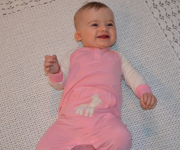 Bamboo Long Sleeve Romper (Cotton Candy/Giraffe)