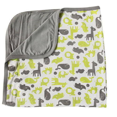 Bamboo Double Layered Receiving Blanket (Limey/Dove)
