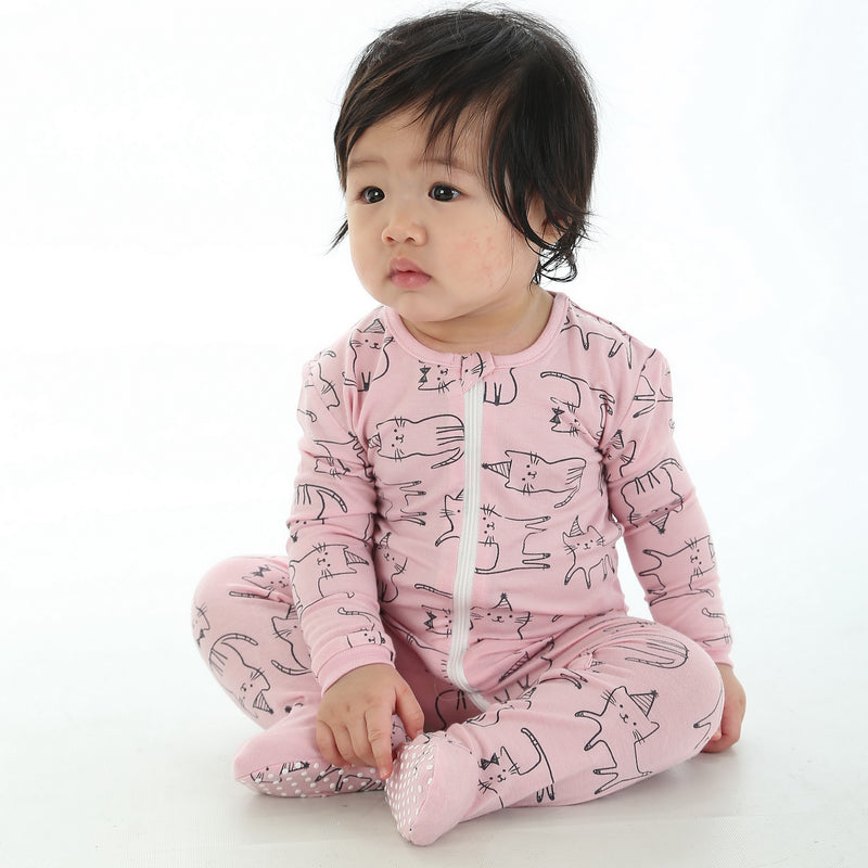 Bamboo Printed Footies with Easy Dressing Zipper - Cat Print (Blossom)