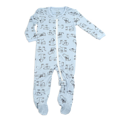 Bamboo Printed Footies with Easy Dressing Zipper - Dog Print (Periwinkle)