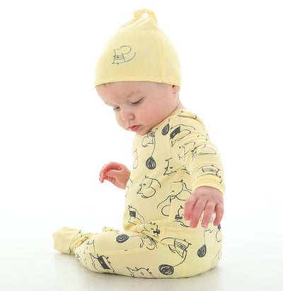 Bamboo Printed Footies with Easy Dressing Zipper - Mouse Print (Banana)