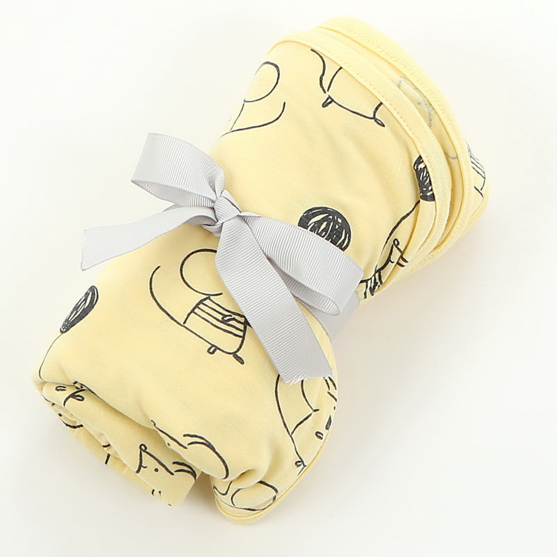 Bamboo Swaddle Blanket - Mouse Print (Banana)