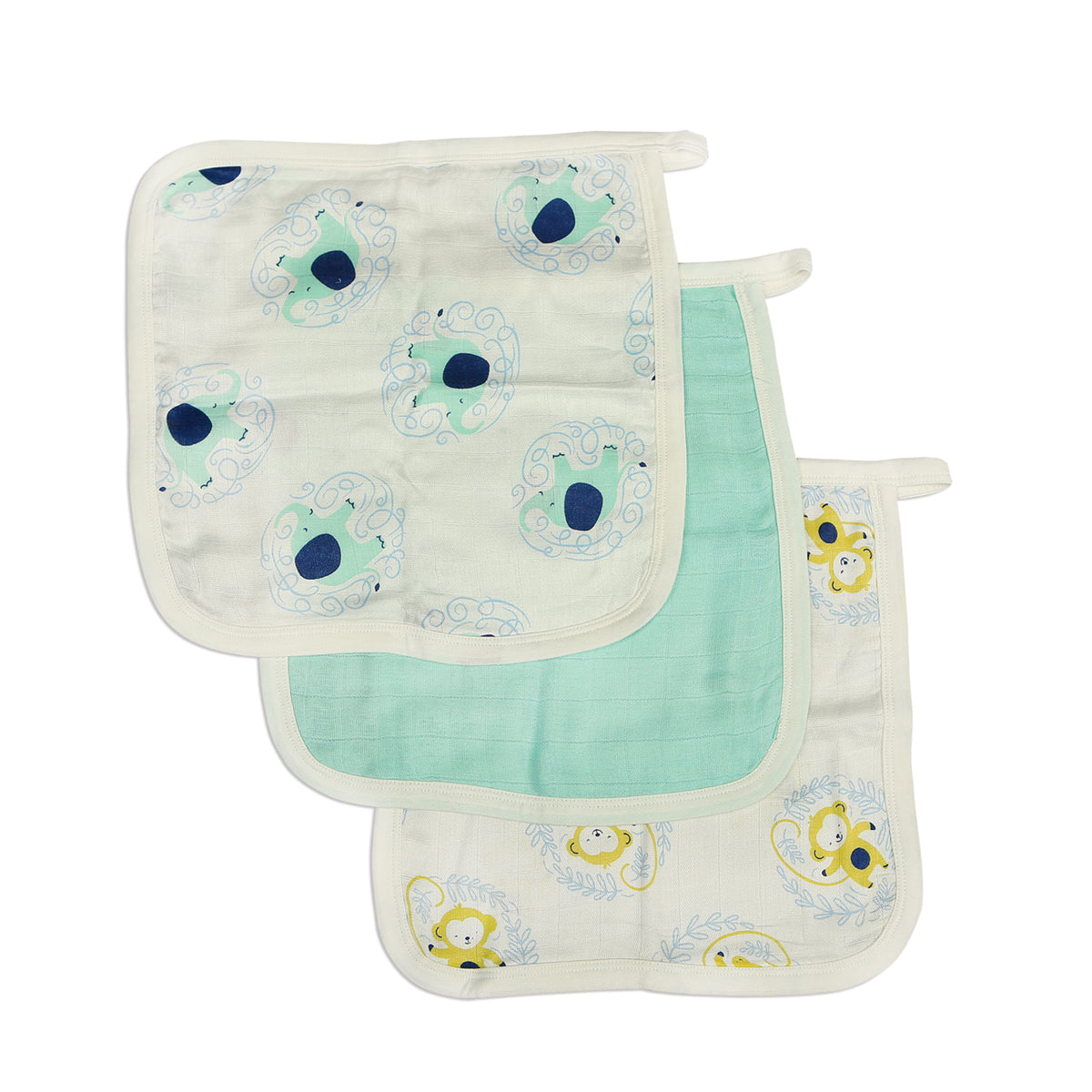 Bamboo Muslin Washcloth Set (3 pack) - Elephant Print, Tropical Mint and Monkey Print
