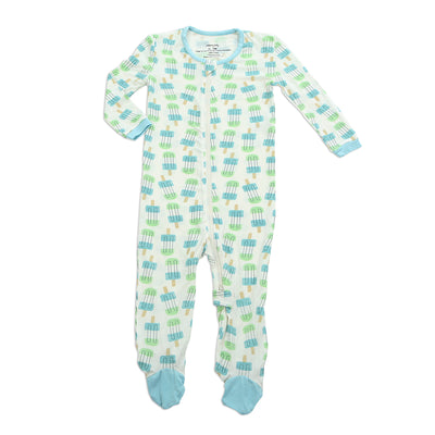 Bamboo Footies with Easy Dressing Zipper (Popsicle Print)
