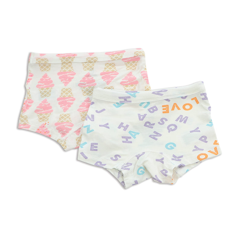 Bamboo Girls Boyshort (2 pack) - Ice Cream Print & Alphabet Print