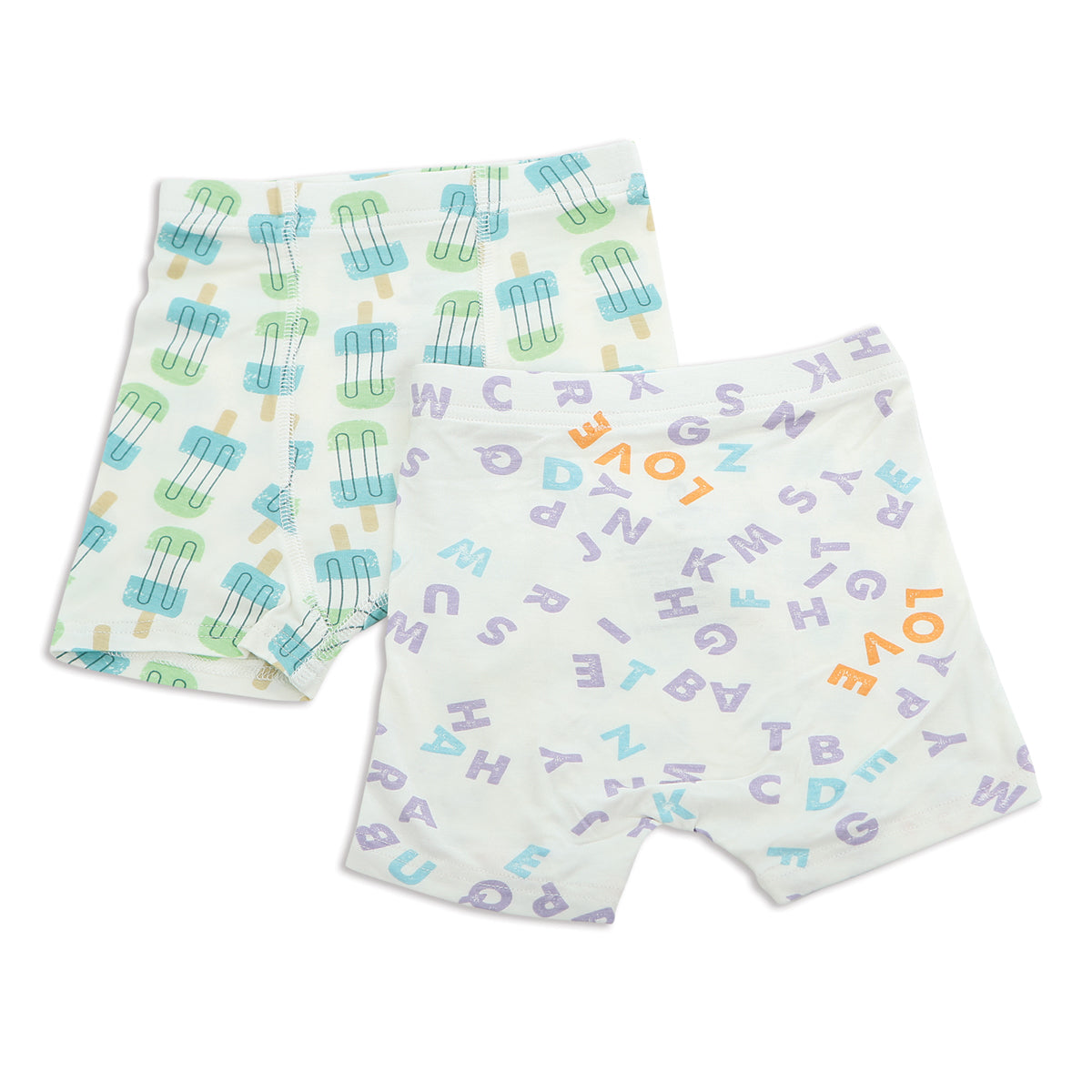 Bamboo Boys Underwear Shorts (2 Pack) - Popsicle Print & Alphabet Print