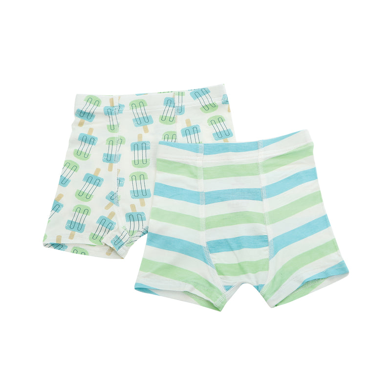 Bamboo Boys Underwear Shorts (2 Pack) - Popsicle Print & Popsicle Stripe