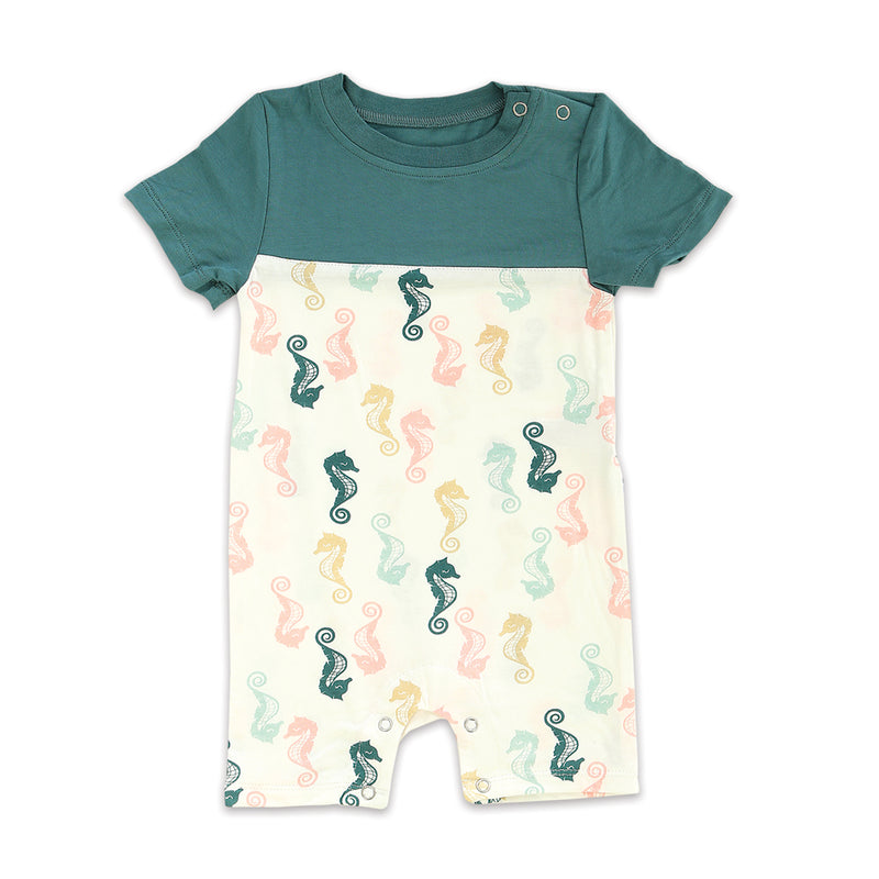 Bamboo Short Sleeve Romper (Seahorse Print)