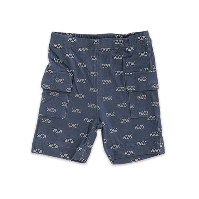 Bamboo Cargo Pocket Shorts (Wave Print)