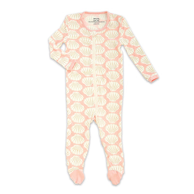 Bamboo Footies with Easy Dressing Zipper (Shell Print)