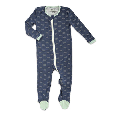 Bamboo Footies with Easy Dressing Zipper (Wave Print)
