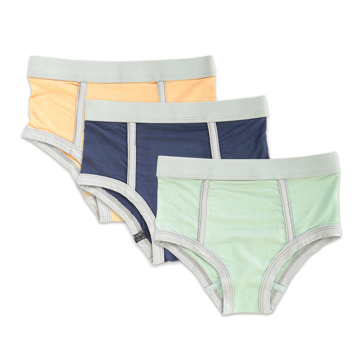 Bamboo Boys Briefs (3 pack) - Peach Sand/Poseidon/Sea Mist